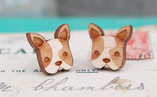 Laser cut, wooden animal jewellery from 'Ginger Pickle'
