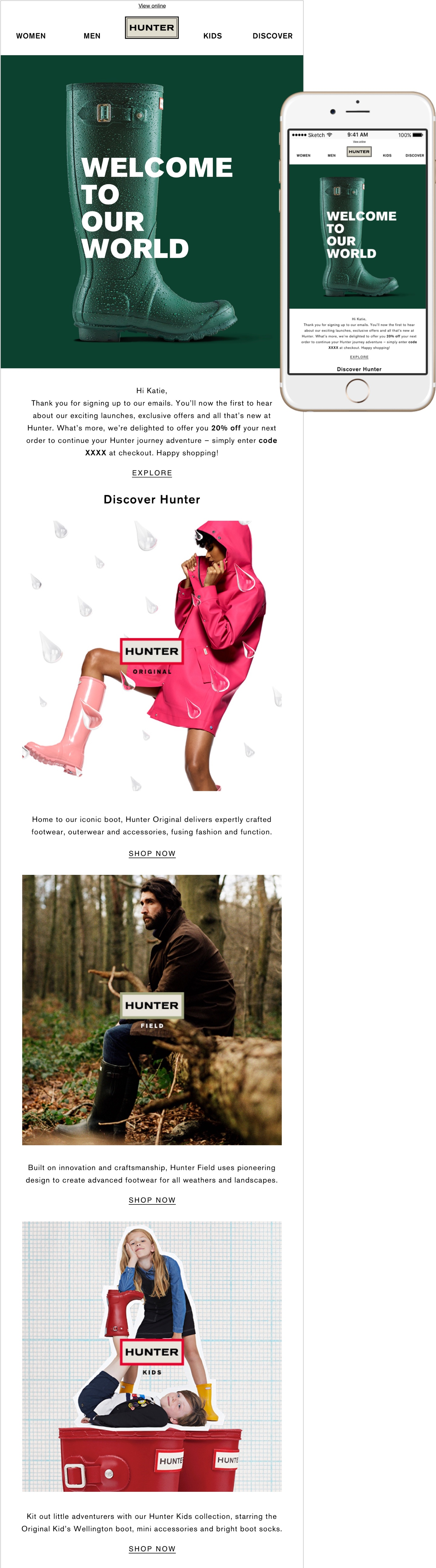 Email design for Hunter Boots