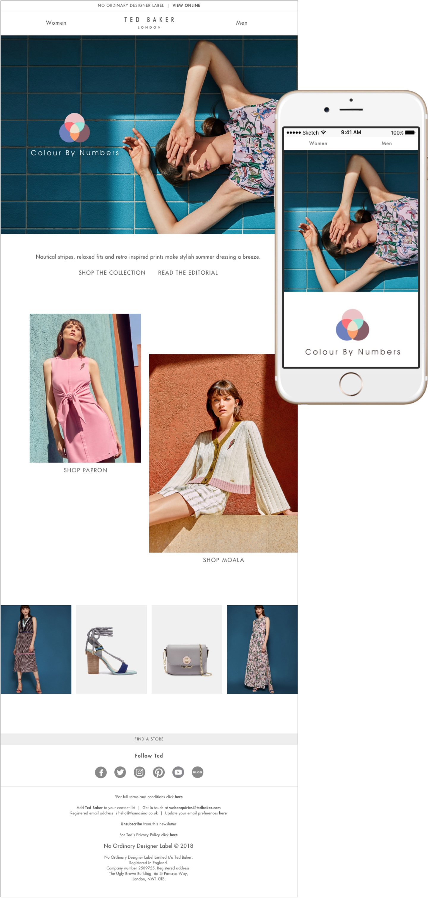 Desktop email design for Ted Baker